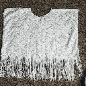 White boho pullover poncho